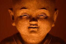 buddha gezicht oranje groot